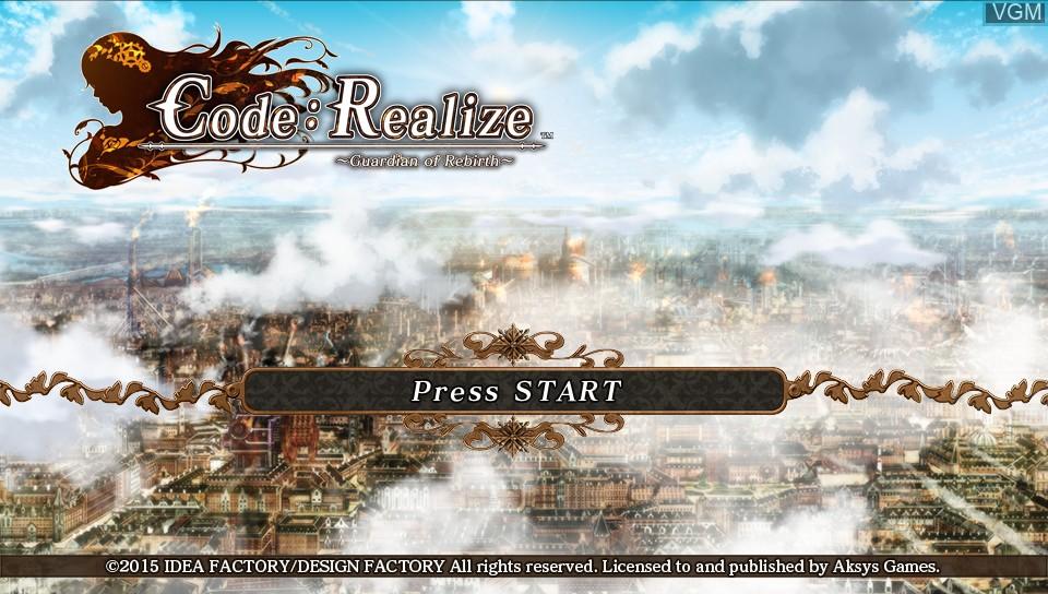 Image de l'ecran titre du jeu Code - Realize - Guardian of Rebirth sur Sony PS Vita