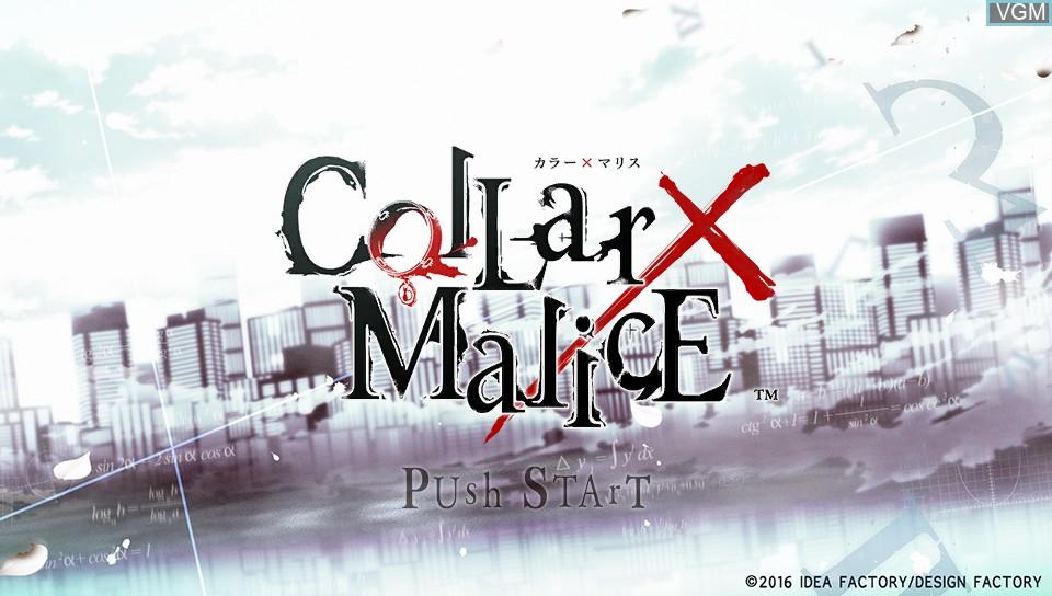 Image de l'ecran titre du jeu Collar x Malice sur Sony PS Vita