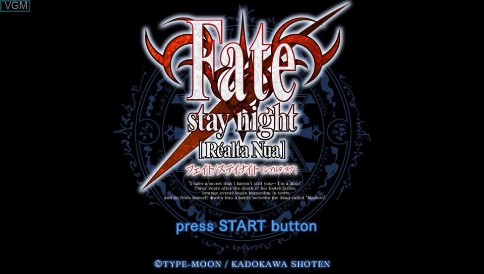 Image de l'ecran titre du jeu Fate/Stay Night sur Sony PS Vita