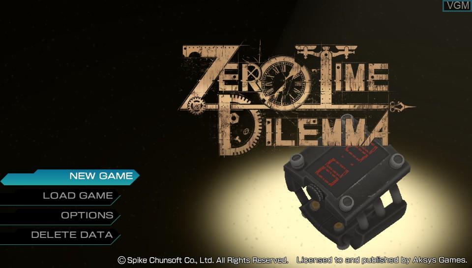 Image de l'ecran titre du jeu Zero Escape - Zero Time Dilemma sur Sony PS Vita