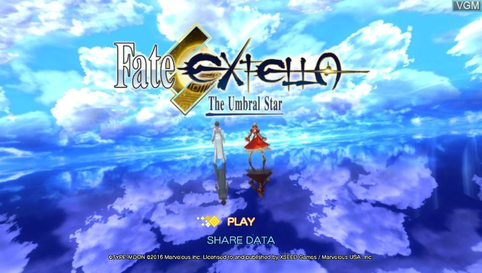 Image de l'ecran titre du jeu Fate/Extella - The Umbral Star sur Sony PS Vita