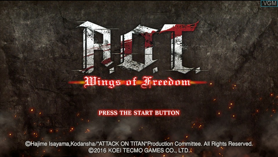 Image de l'ecran titre du jeu A.O.T. Wings of Freedom sur Sony PS Vita