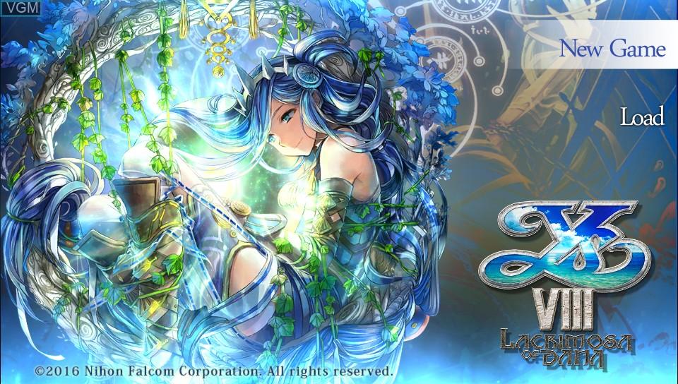 Image de l'ecran titre du jeu Ys VIII - Lacrimosa of DANA sur Sony PS Vita