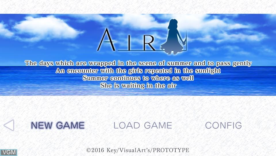 Image de l'ecran titre du jeu Air sur Sony PS Vita