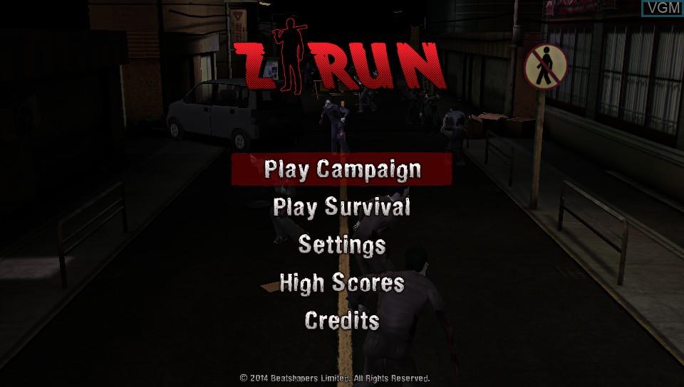Image de l'ecran titre du jeu Z-Run sur Sony PS Vita