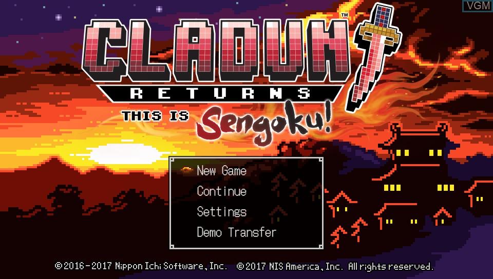 Image de l'ecran titre du jeu ClaDun Returns - This is Sengoku! sur Sony PS Vita