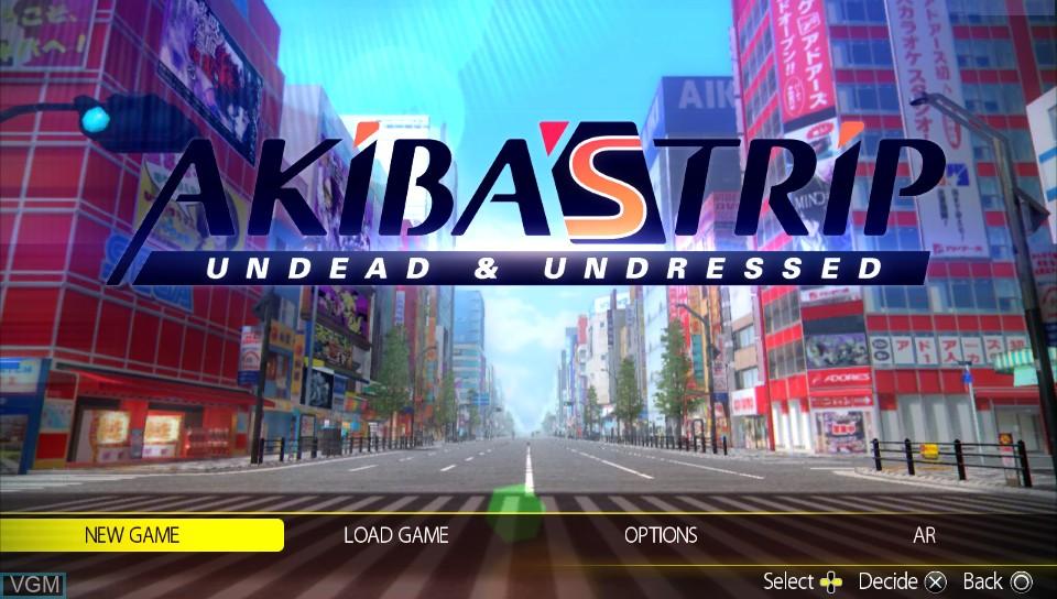 Image du menu du jeu Akiba's Trip - Undead & Undressed sur Sony PS Vita