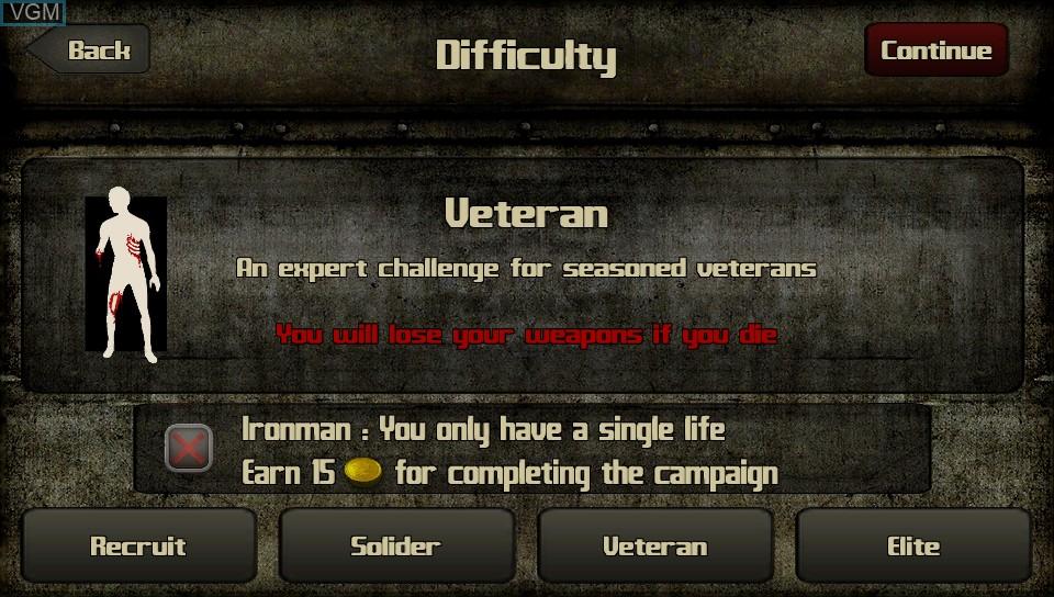 Image du menu du jeu 2013 - Infected Wars sur Sony PS Vita