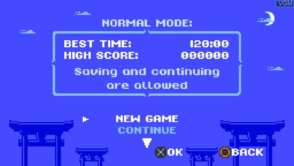 Image du menu du jeu Ninja Senki DX sur Sony PS Vita