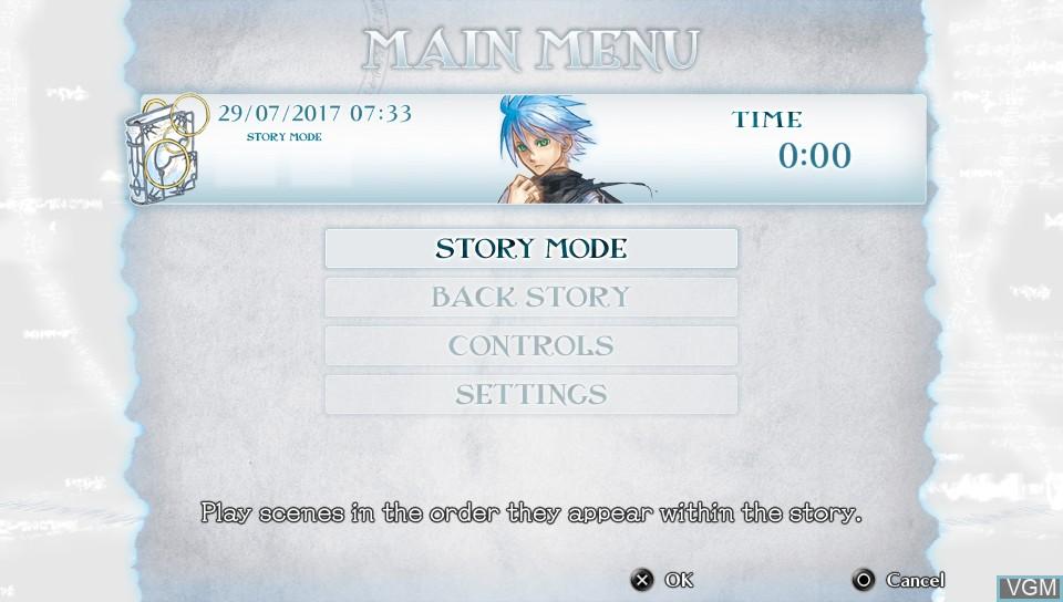 Image du menu du jeu Malicious Rebirth sur Sony PS Vita