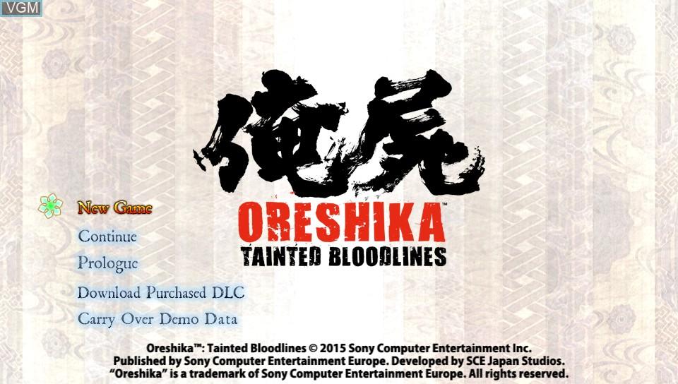 Image du menu du jeu Oreshika - Tainted Bloodlines sur Sony PS Vita