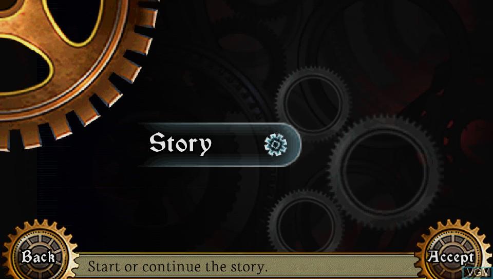 Image du menu du jeu AeternoBlade sur Sony PS Vita
