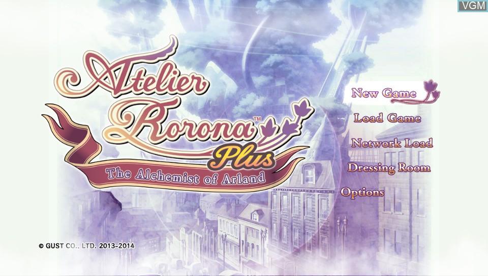 Image du menu du jeu Atelier Rorona Plus - The Alchemist of Arland sur Sony PS Vita