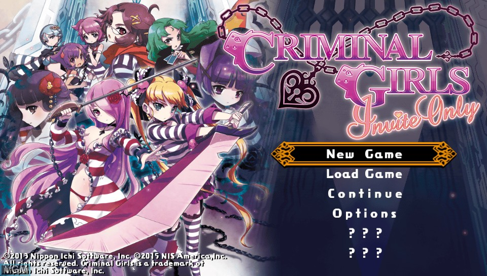 Image du menu du jeu Criminal Girls - Invite Only sur Sony PS Vita