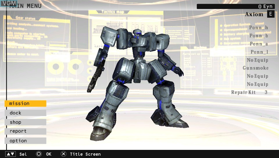 Image du menu du jeu Damascus Gear - Operation Tokyo sur Sony PS Vita