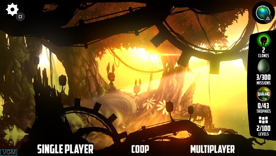 Image du menu du jeu BADLAND sur Sony PS Vita
