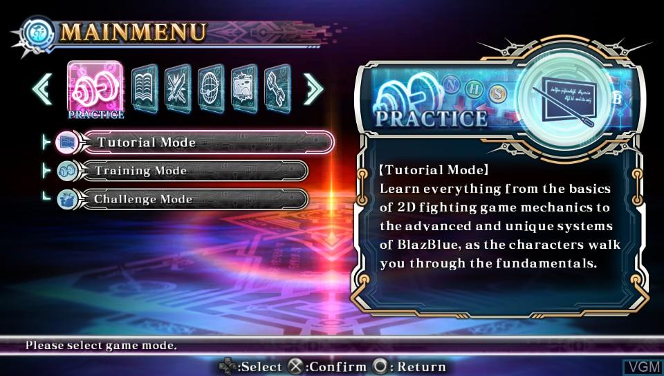 Image du menu du jeu BlazBlue - Chrono Phantasma Extend sur Sony PS Vita