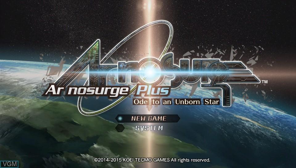Image du menu du jeu Ar nosurge Plus - Ode to an Unborn Star sur Sony PS Vita