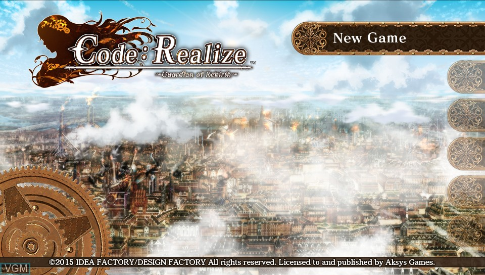 Image du menu du jeu Code - Realize - Guardian of Rebirth sur Sony PS Vita
