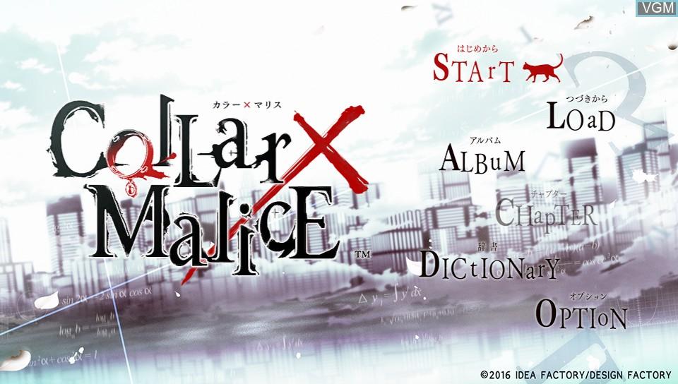 Image du menu du jeu Collar x Malice sur Sony PS Vita