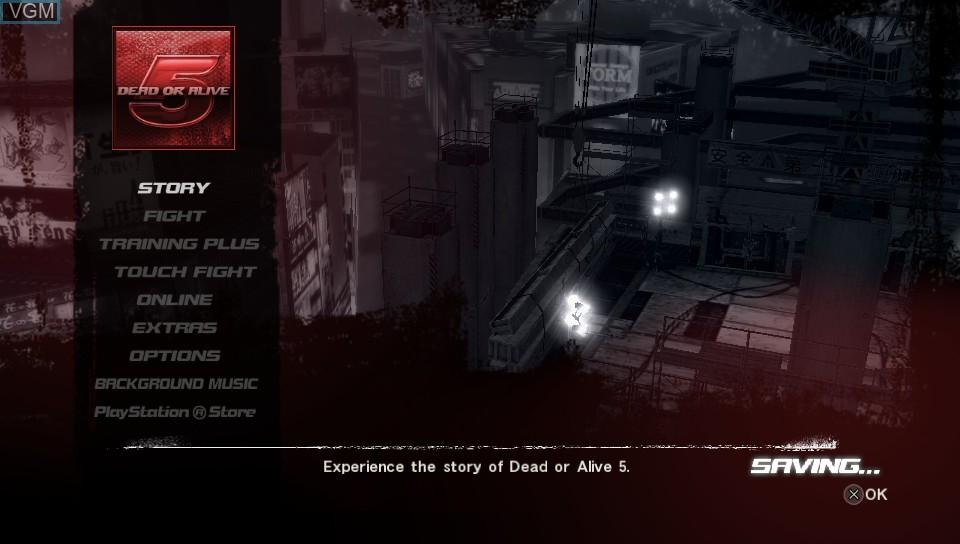 Image du menu du jeu Dead or Alive 5 Plus sur Sony PS Vita