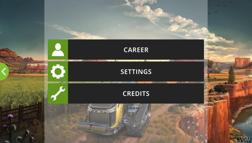 Image du menu du jeu Farming Simulator 18 sur Sony PS Vita