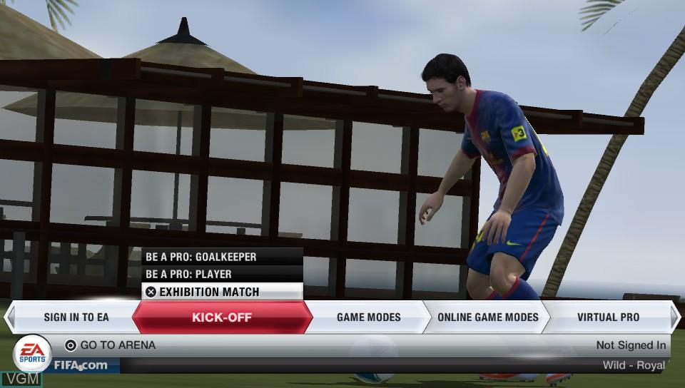Image du menu du jeu FIFA 13 sur Sony PS Vita