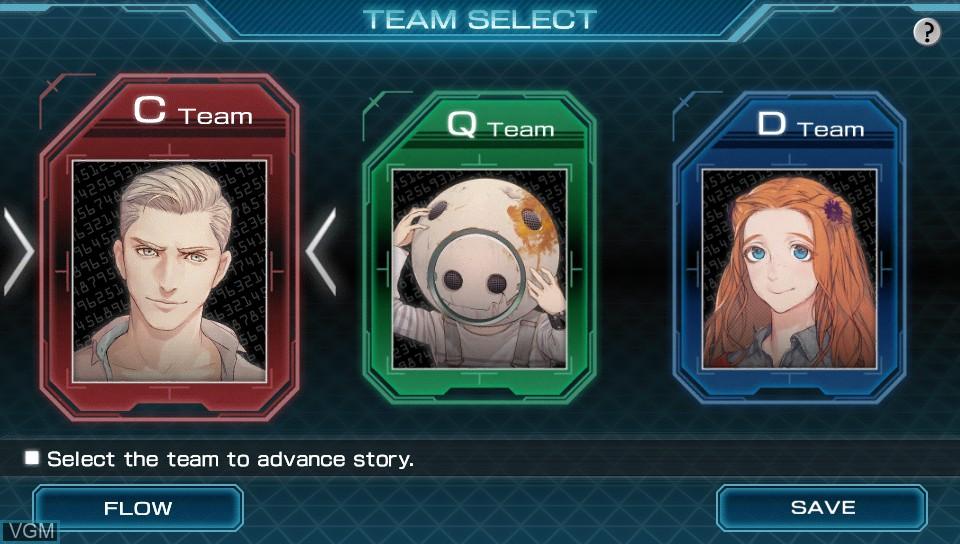 Image du menu du jeu Zero Escape - Zero Time Dilemma sur Sony PS Vita