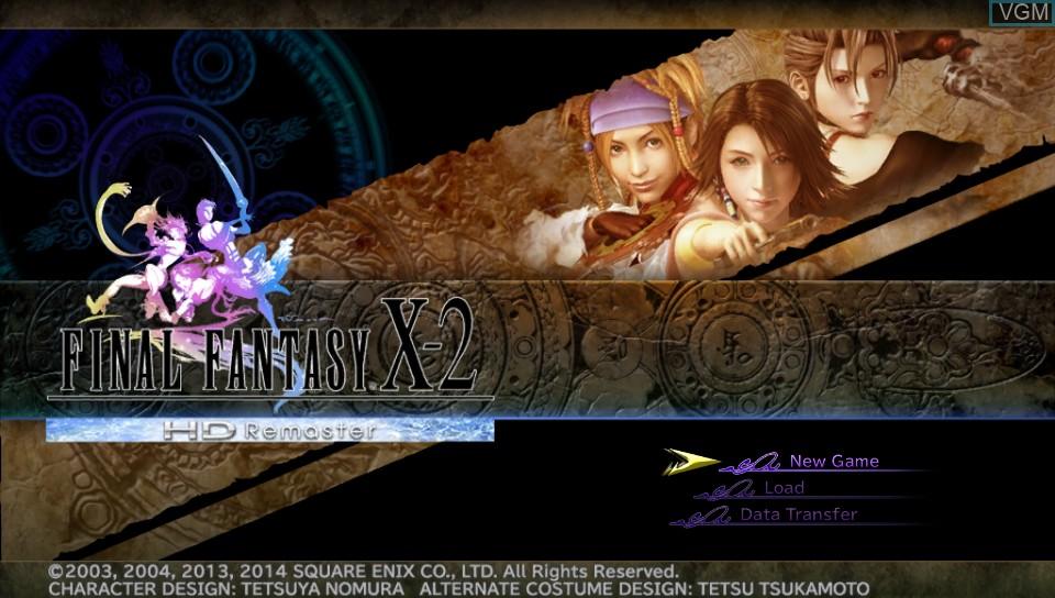 Image du menu du jeu Final Fantasy X-2 HD Remaster sur Sony PS Vita