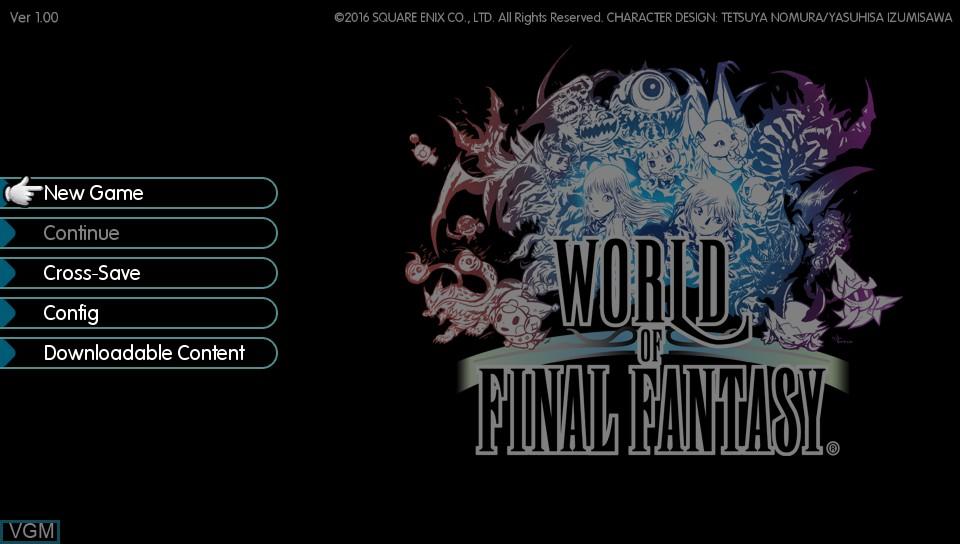 Image du menu du jeu World of Final Fantasy sur Sony PS Vita