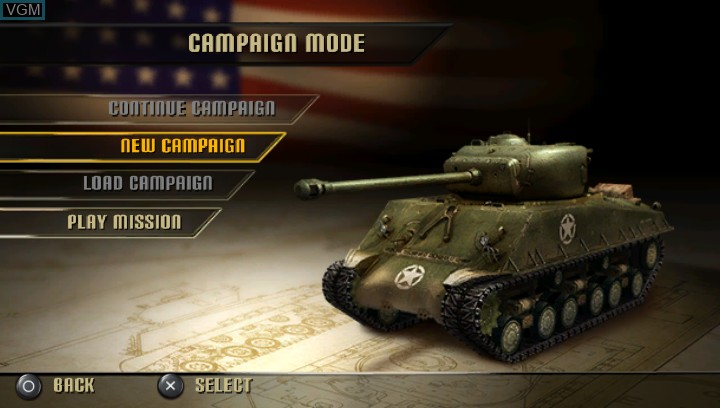 Image du menu du jeu History Legends of War - Patton sur Sony PS Vita