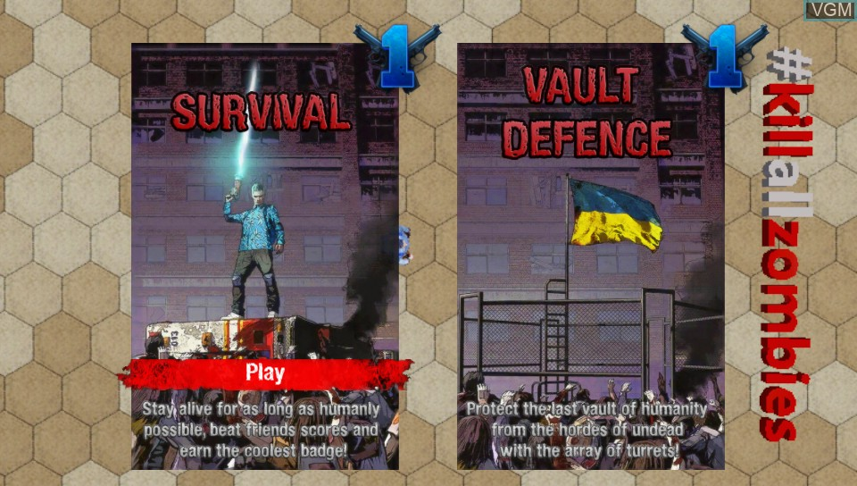 Image du menu du jeu #KILLALLZOMBIES sur Sony PS Vita