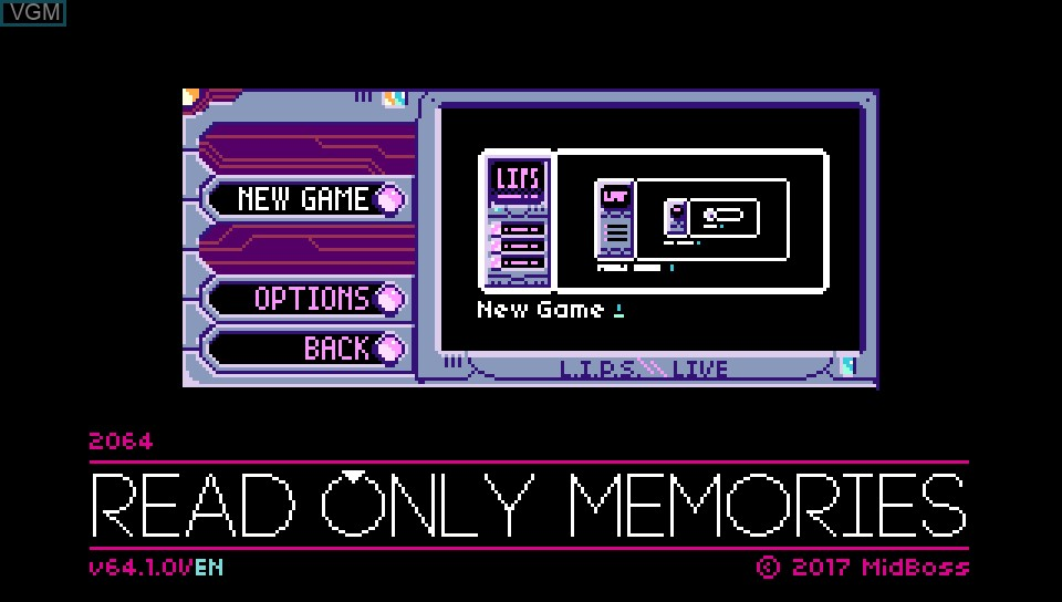 Image du menu du jeu 2064 - Read Only Memories sur Sony PS Vita