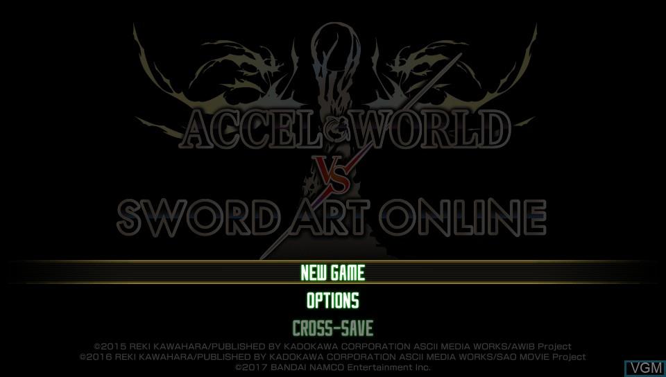 Image du menu du jeu Accel World vs. Sword Art Online - Millennium Twilight sur Sony PS Vita