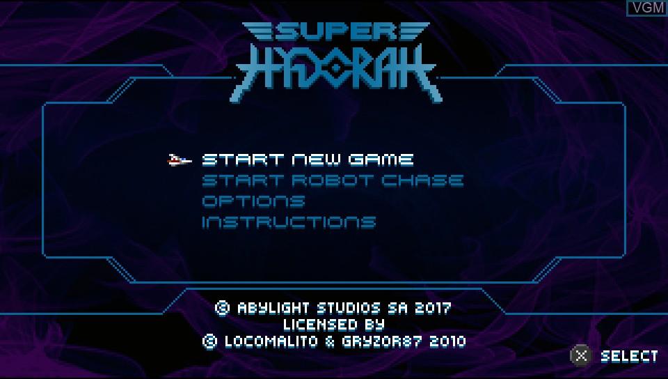 Image du menu du jeu Super Hydorah sur Sony PS Vita