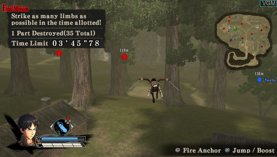 Image in-game du jeu A.O.T. Wings of Freedom sur Sony PS Vita
