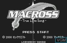 Image de l'ecran titre du jeu Choujikuu Yousai Macross - True Love Song sur Bandai WonderSwan