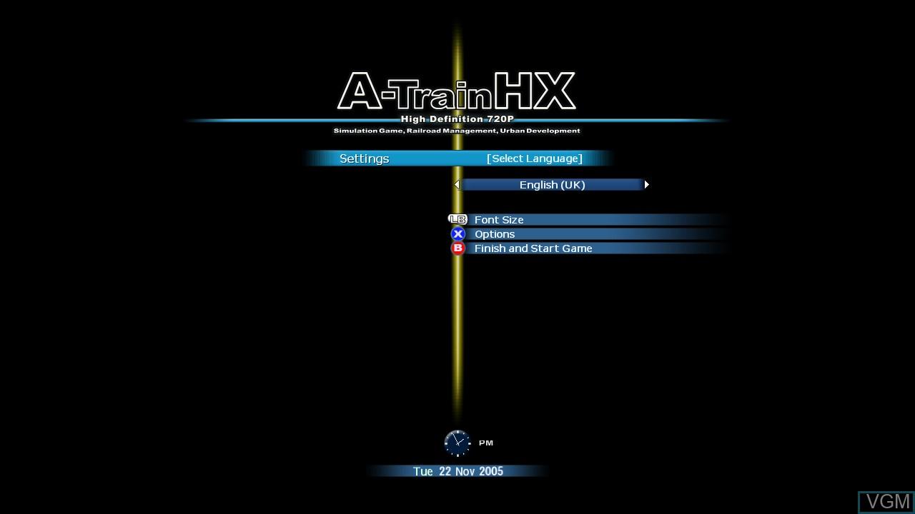 Image de l'ecran titre du jeu A-Train HX sur Microsoft Xbox 360