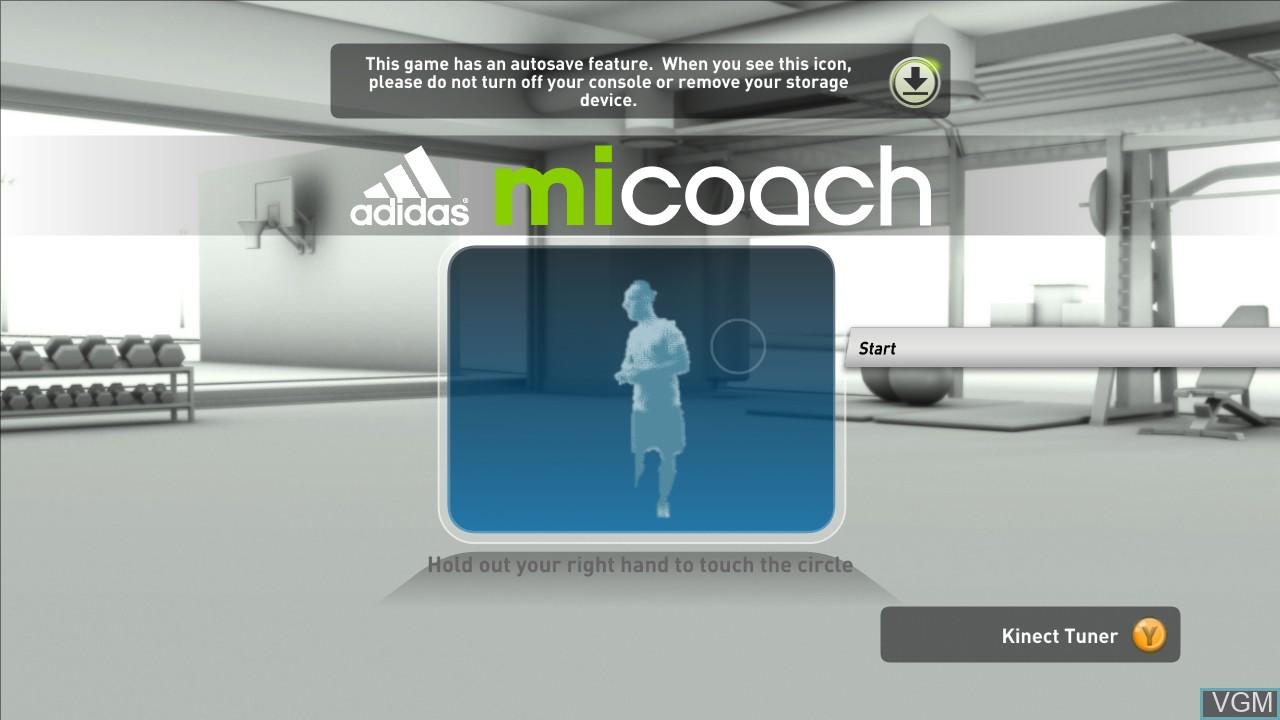 Image de l'ecran titre du jeu Adidas miCoach sur Microsoft Xbox 360