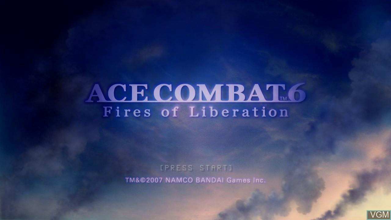 Image de l'ecran titre du jeu Ace Combat 6 - Fires of Liberation sur Microsoft Xbox 360