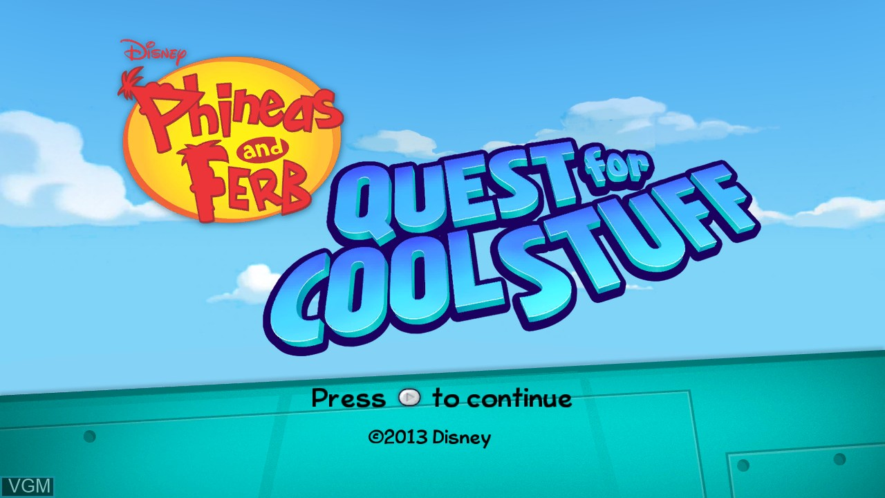 Image de l'ecran titre du jeu Phineas and Ferb - Quest for Cool Stuff sur Microsoft Xbox 360