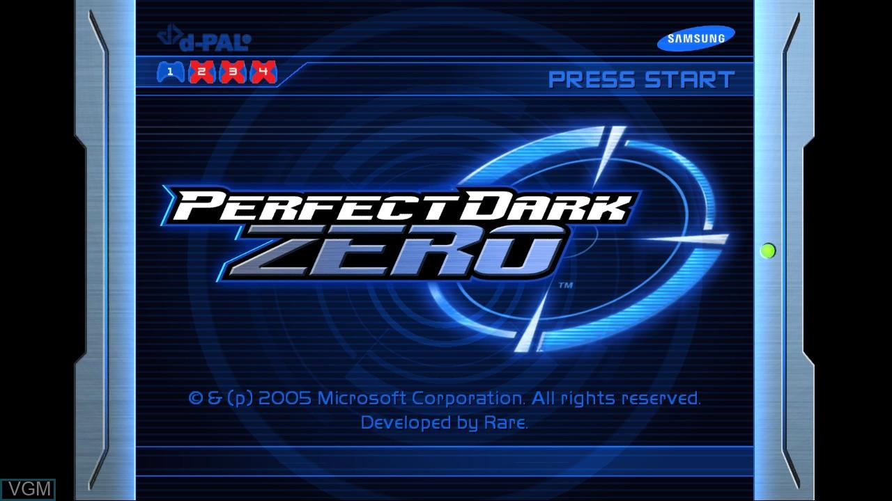 Image de l'ecran titre du jeu Perfect Dark Zero sur Microsoft Xbox 360
