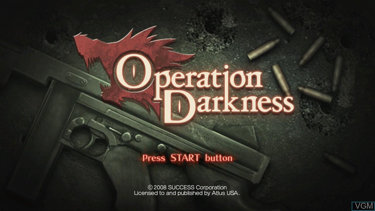 Image de l'ecran titre du jeu Operation Darkness sur Microsoft Xbox 360