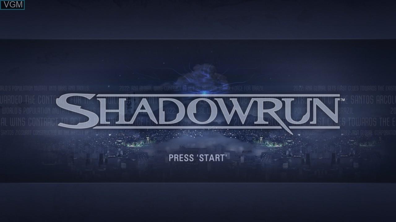 Image de l'ecran titre du jeu Shadowrun sur Microsoft Xbox 360