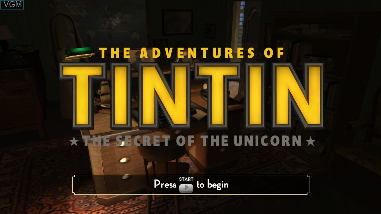 Image de l'ecran titre du jeu Adventures of Tintin, The - The Secret of the Unicorn sur Microsoft Xbox 360