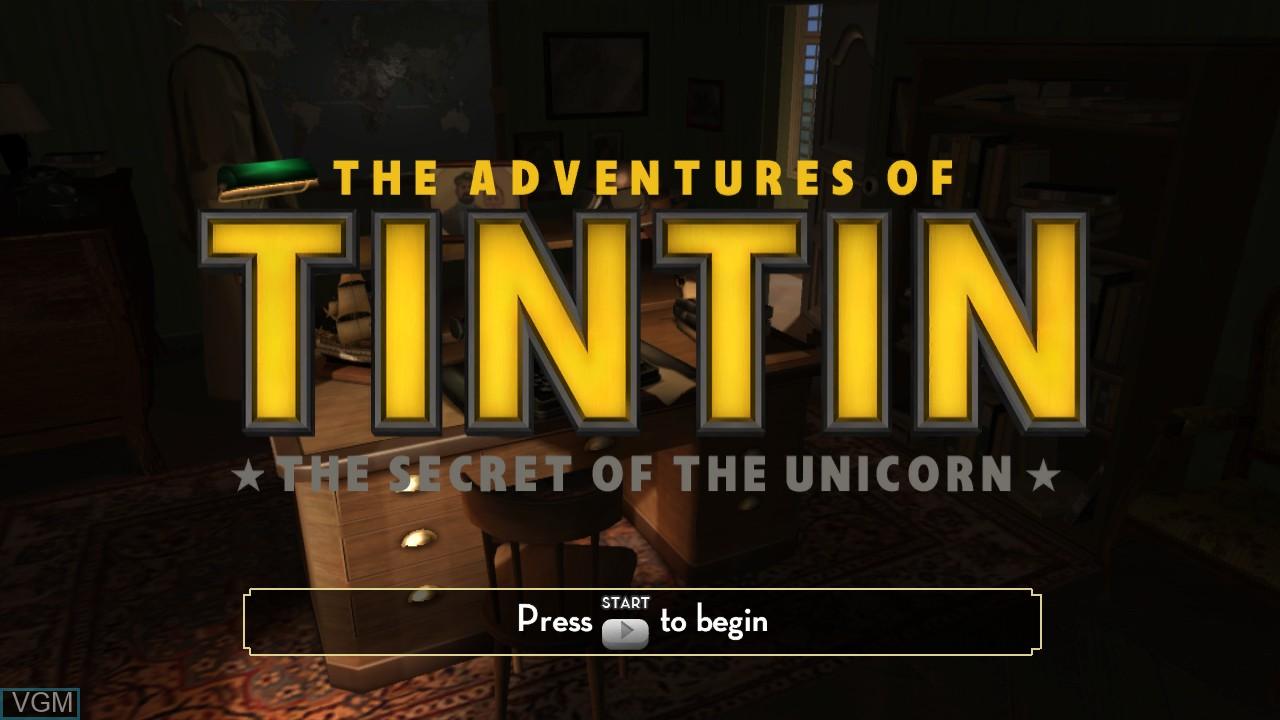 Image de l'ecran titre du jeu Adventures of Tintin, The - The Secret of the Unicorn sur Microsoft Xbox 360