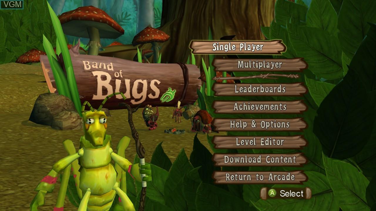 Image de l'ecran titre du jeu Band of Bugs sur Microsoft Xbox 360