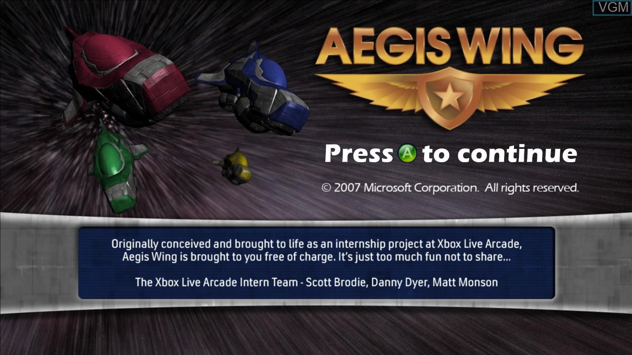 Image de l'ecran titre du jeu Aegis Wing sur Microsoft Xbox 360