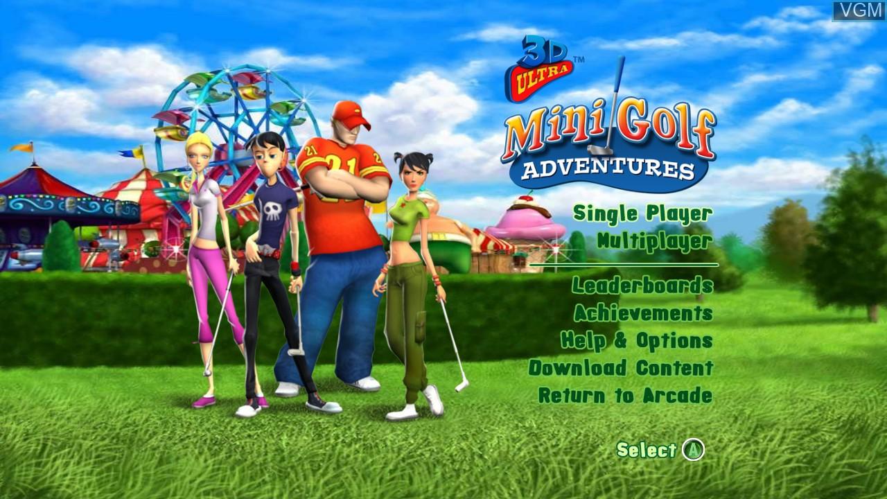 Image de l'ecran titre du jeu 3D Ultra MiniGolf Adventures sur Microsoft Xbox 360