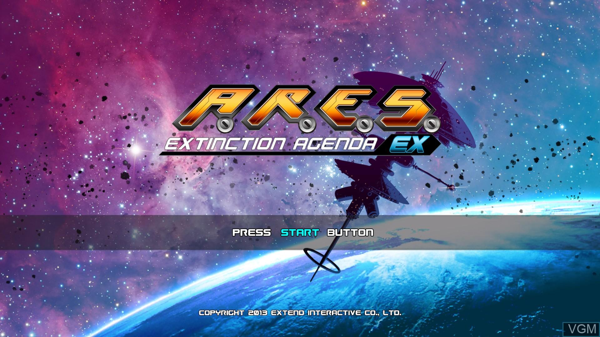 Image de l'ecran titre du jeu A.R.E.S. Extinction Agenda EX sur Microsoft Xbox 360